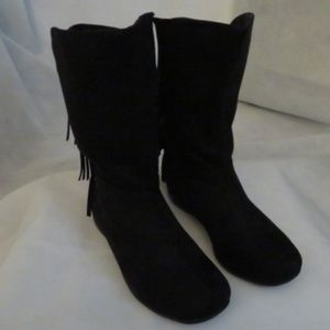 SALE Faux Suede Fringe Wide Calf Boots 7 1/2W NWT